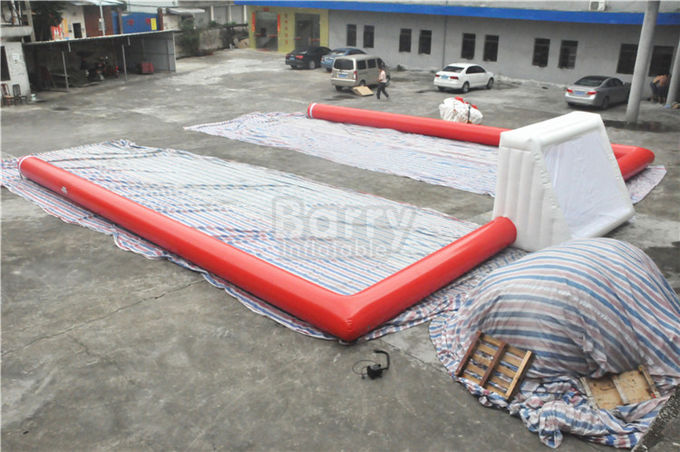 Red Air Sealed Big Inflatable Football Field , Inflatable Soccer Court