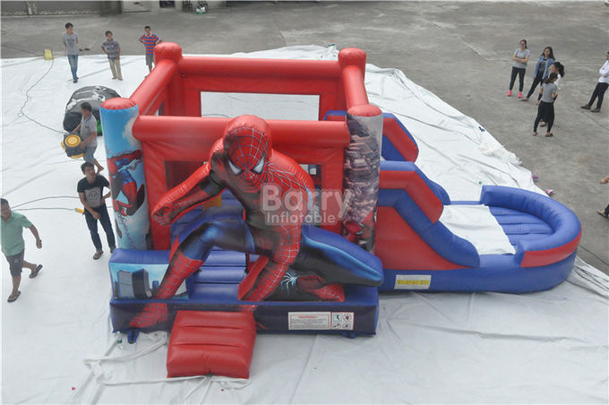 Spiderman Bouncy Castle , Round Inflatable Bouncer Combo With Slide