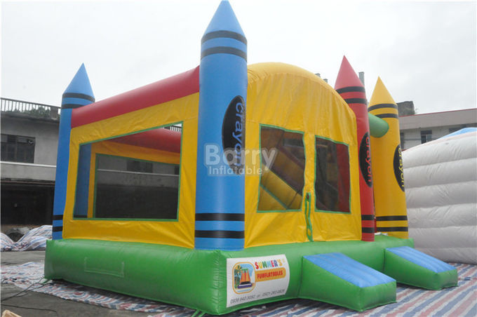 PVC Tarpaulin Inflatable Combo , 5x4x3.6m Kids Inflatable Bounce House With Slide