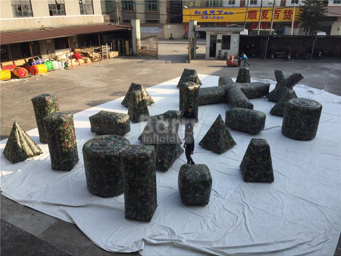 Customized camouflage Inflatable Sports Games / Inflatable Paintball Bunkers for Shooting Games