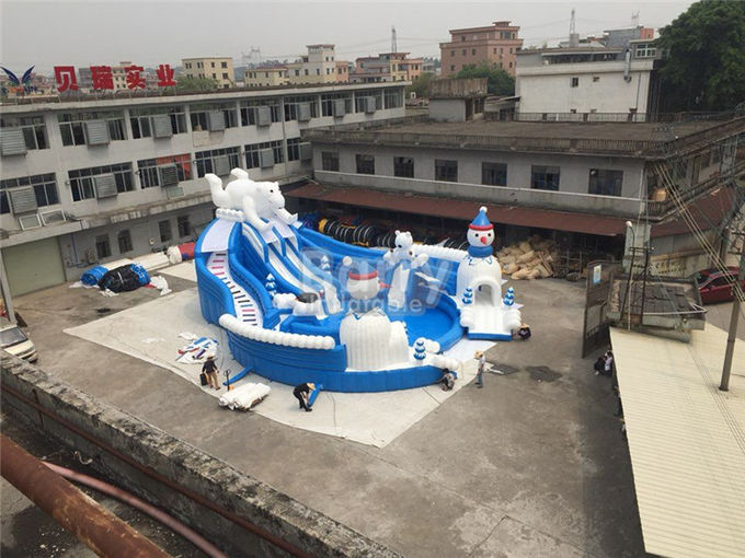 Outdoor Amazing Bear Inflatable Water Park With Slide Blue And White