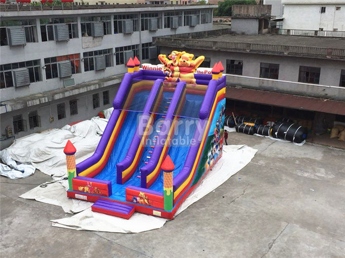 Professional Double Lanes Bear Kid Inflatable Slide 12*8*8m Or Customized