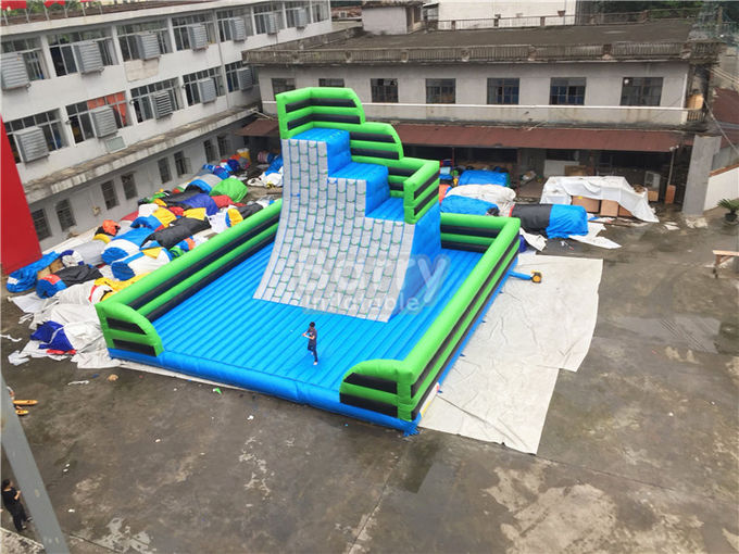 Green Outdoor Inflatable Climbing Wall Obstacle Course With Bottom Mat