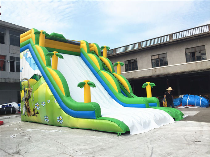 Professional Commercial Inflatable Slide For Kids Green Jungle Single Lane