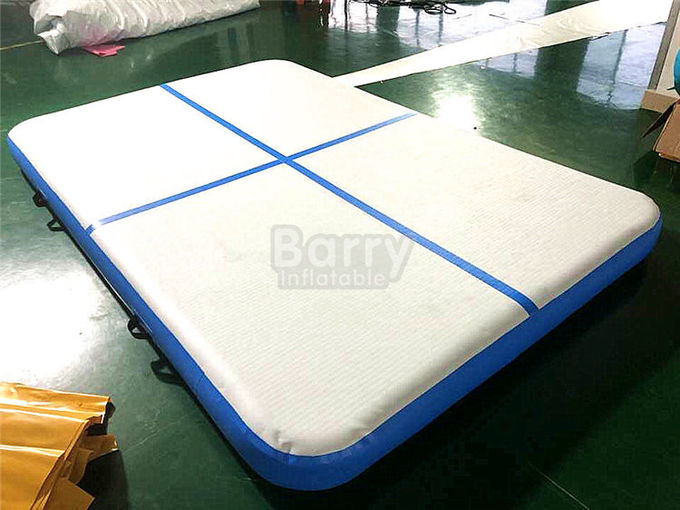Blue Squre Air Track Tumbling Mat , Tumble Track Inflatable Air Mat For Gymnastics