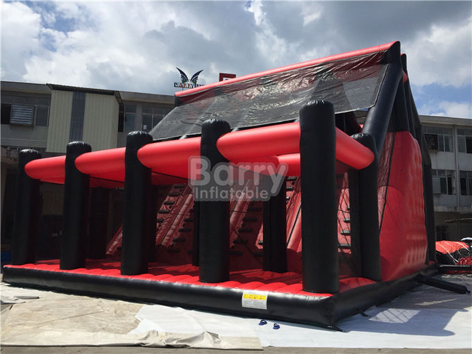 Attractive Rides Jump Kids Red Drop Tower Inflatable Interactive Games / Funny Drop Tower