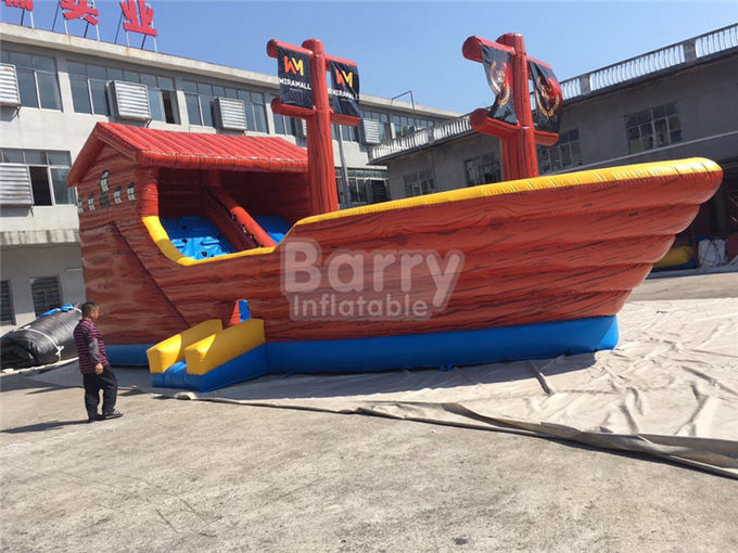 Playful Giant Pirate Ship Inflatable Bouncer Castle Combo With Slide