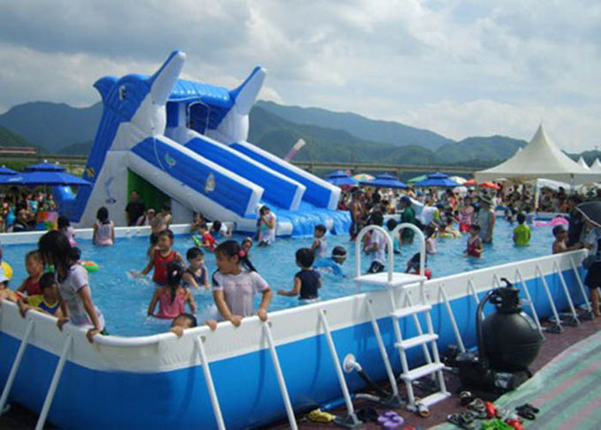 Giant Metal Frame Pool Above Ground Pool Water Slide For Amusement Park