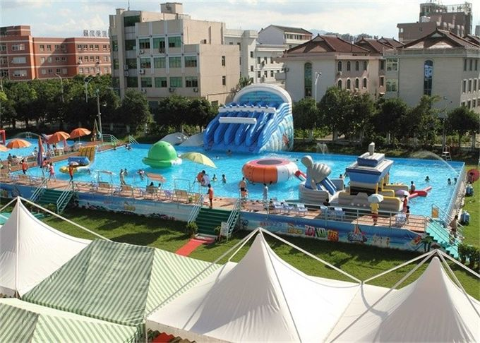 Large Frame Outdoor Inflatable Water Park With Pool , Inflatable Backyard Water Park