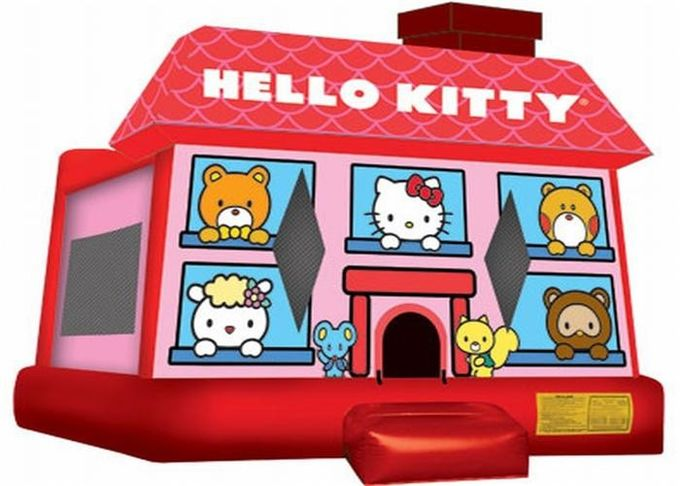 Cute Red Inflatable Bouncer , Hello Kitty Inflatable Bouncer For Kid Playing